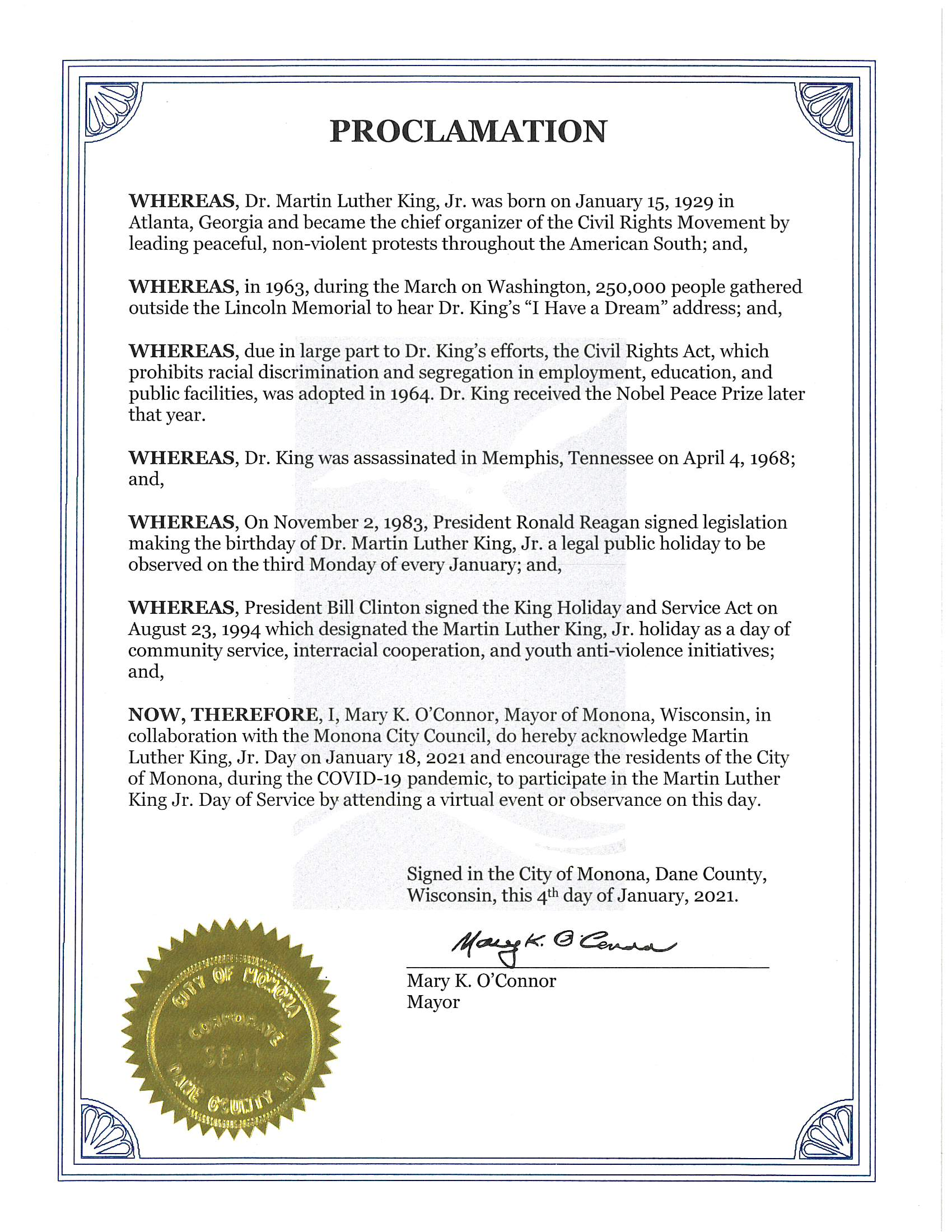 Proclamation Acknowledging Martin Luther King Jr. Day on Jan. 18, 2021