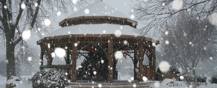 Photo of Winnequah Park Gazebo during a snow fall